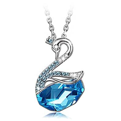 Amazon valentines gifts ladycolour blue swan pendant necklace valentines gifts ladycolour blue swan pendant necklace swarovski crystals animal collection engaraved love christmas gifts for mozeypictures Images