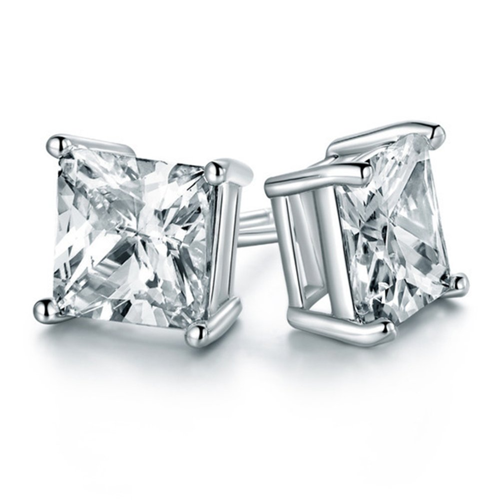 Chryssa Youree 925 Silver CZ Cubic Zirconia Square Princess Cut 8mm Studs Earrings Mens Womens Children Jewelry Bridesmaid Groomsmen Gifts (ED-68) 1