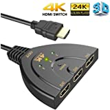 HDMI Switch,HDMI Pigtail Switch Splitter 3 in 1 Out with High Speed Pigtail Cable 3 Ports Auto Switcher Hub to Expand Your HDMI Capacity,Supports 3D 4K HD Audio for HDTV,Projector Computer,Monitors