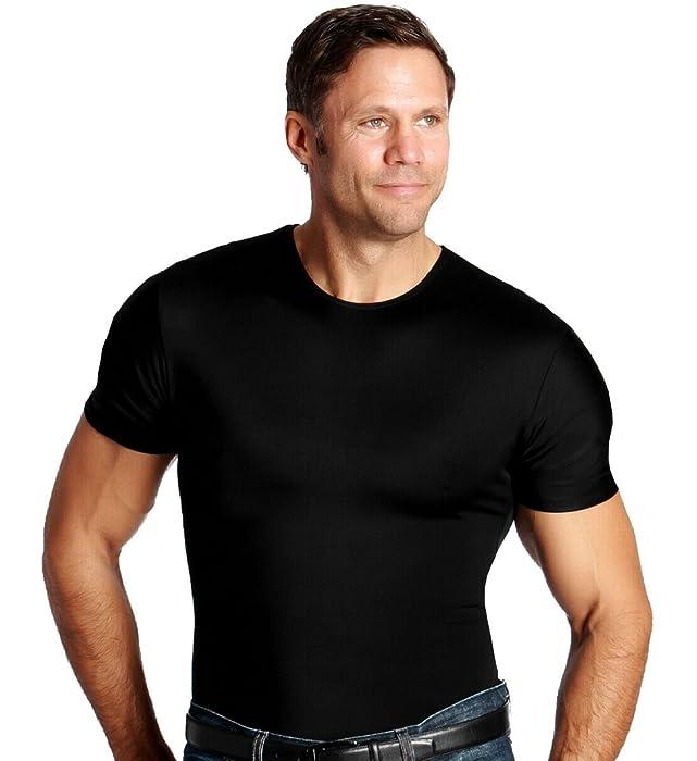 Black Small Insta Slim Mens Nylon Shapewear Tank Top