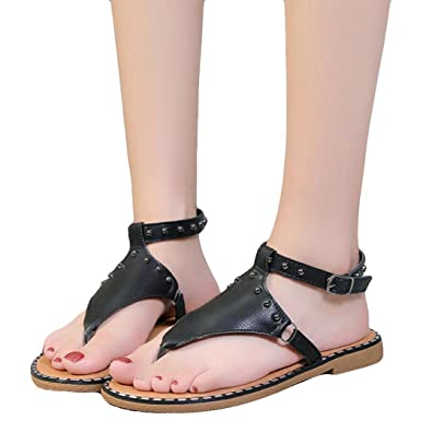 1ad90c71a418 Goodtrade8 Clearance ❤ Women s Elastic Strappy String Thong Ankle Strap  Buckle Summer Gladiator Sandals (Size
