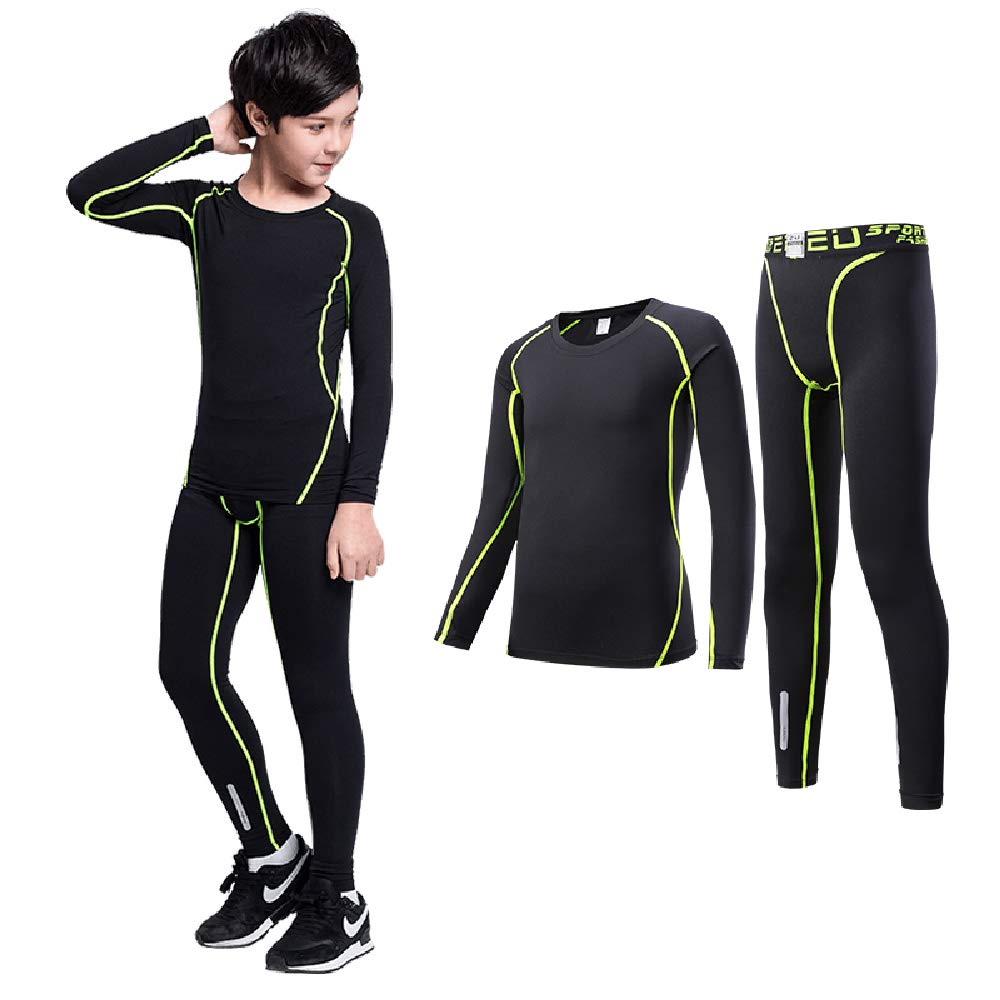 Legendfit Compression Pants Shirts for Kids 2PCS Baselayers Set Running Tights
