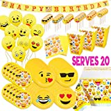 Emoji Birthday Party Decorations MelonBoat Emoji Party Supplies Birthday Decorations Kit, Plates, Napkins, Tablecloth, Popcorn Boxes, Cake Toppers, Banners, Latex Balloons, 102 ct, Serves 20
