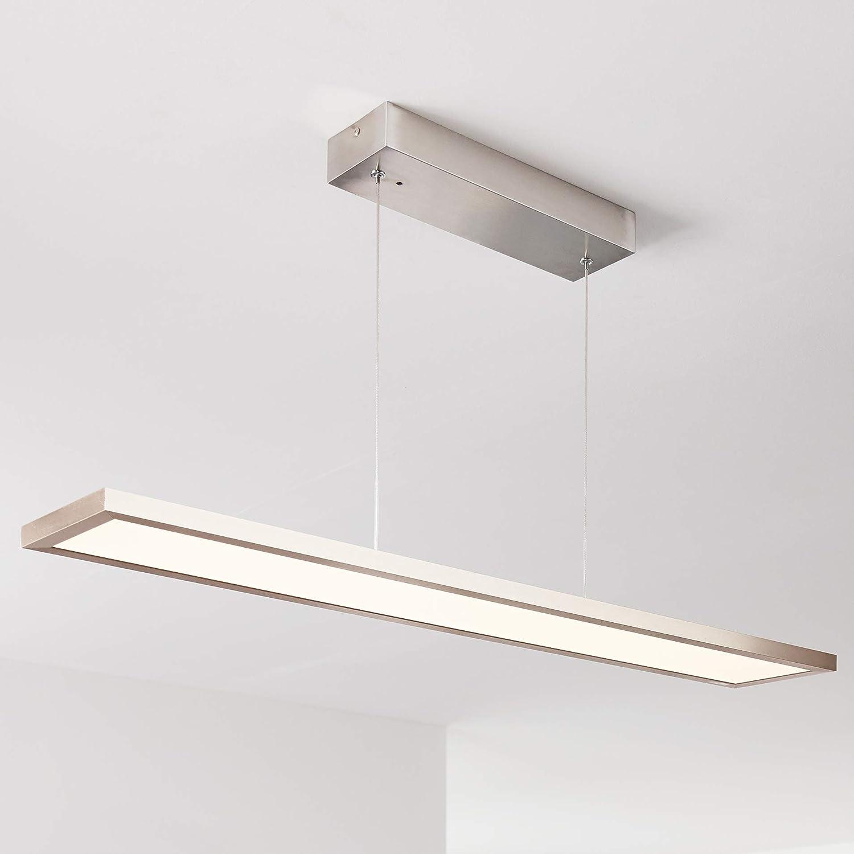 LED Pendelleuchte Paneel 90x15cm, 1x 30W LED integriert, 1x 2300 Lumen, 2700-6200K, Metall Kunststoff, nickel eloxiert