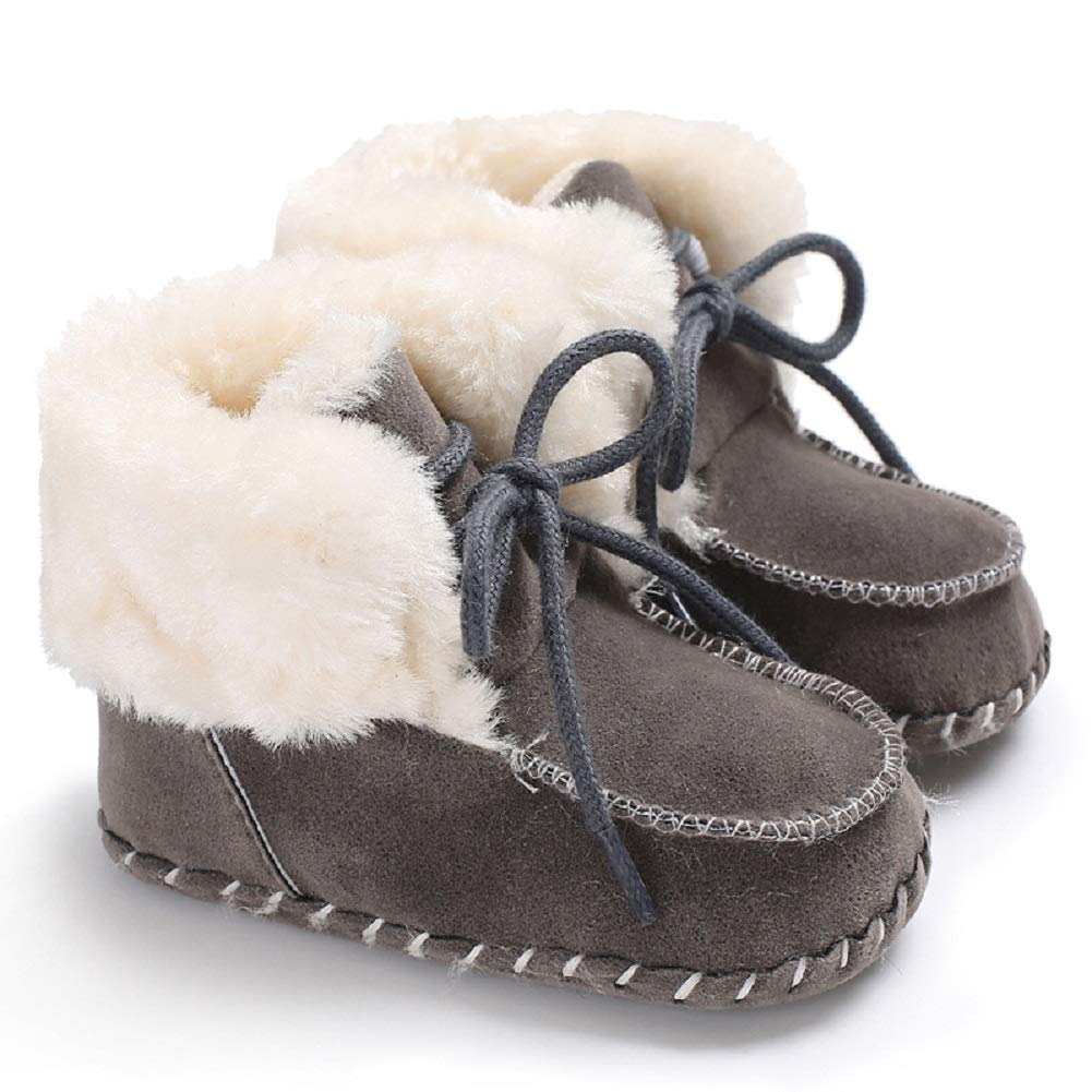 Fnnetiana Newborn Baby Warm Winter Snow Boots Toddler Soft Sole Anti-Slip Infant Prewalker Unisex Nursling Crib Shoes