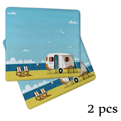Atokker Seaside DChair Cushionr,Seat Cushion Rocking Chair Cushions and Pads Illustration of Summertime Caravan Coastline Clouds Seagulls Scenery Print Patio Chair Cushions 2 Pack: Kitchen & Dining