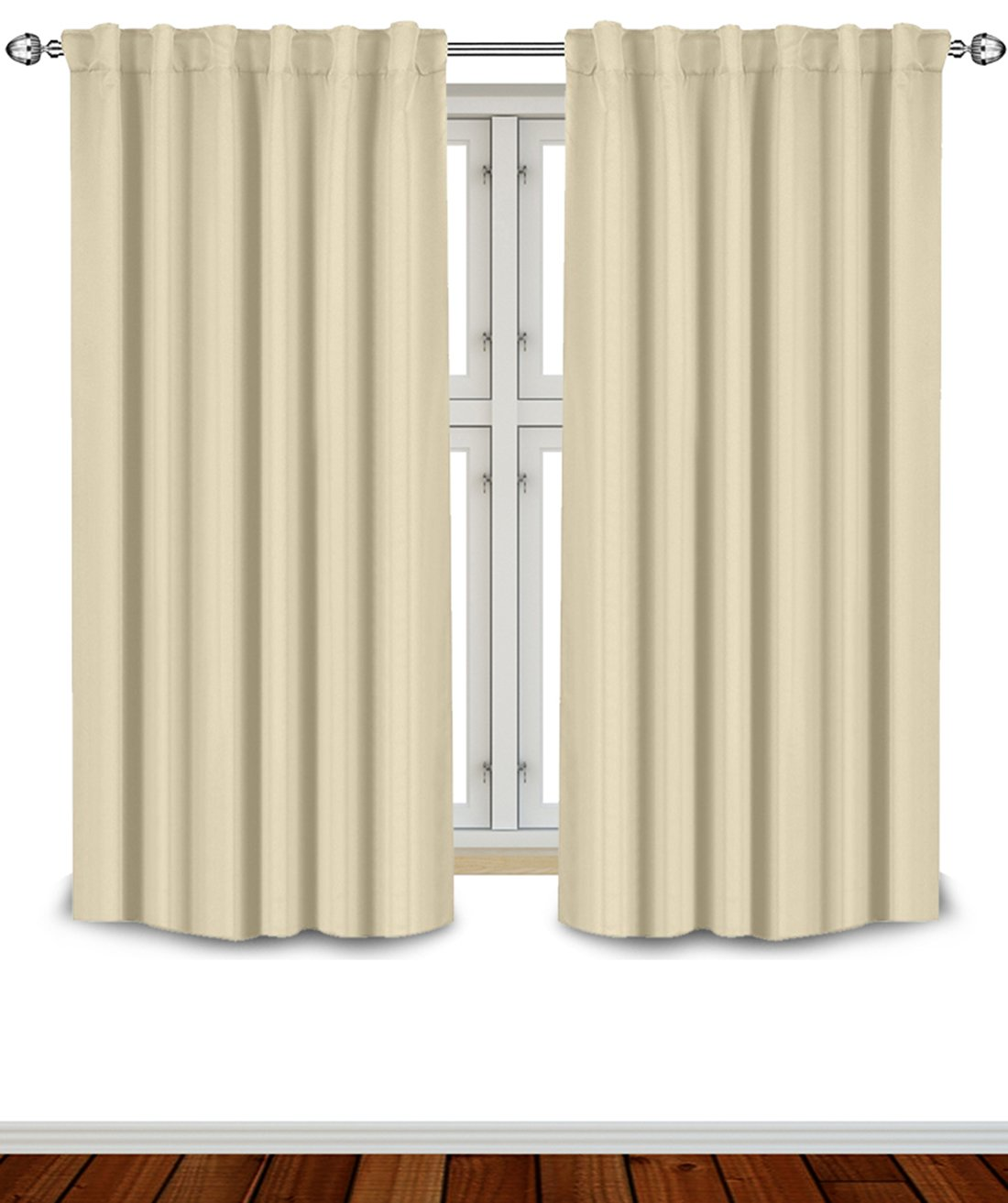 Blackout Room Darkening Curtains Window Panel Drapes - Beige Color 2 Panel Set