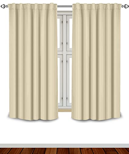 Blackout Room Darkening Curtains Window Panel Drapes   Beige Color 2 Panel  Set, 52 Inch