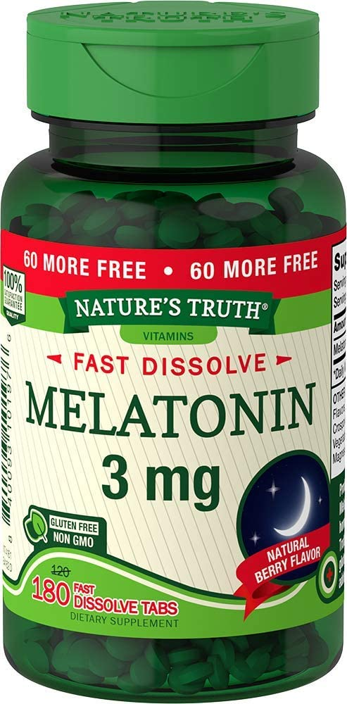 Nature's Truth Melatonin 3 Mg Fast Dissolve Tabs, Natural Berry, 180 Count, Green