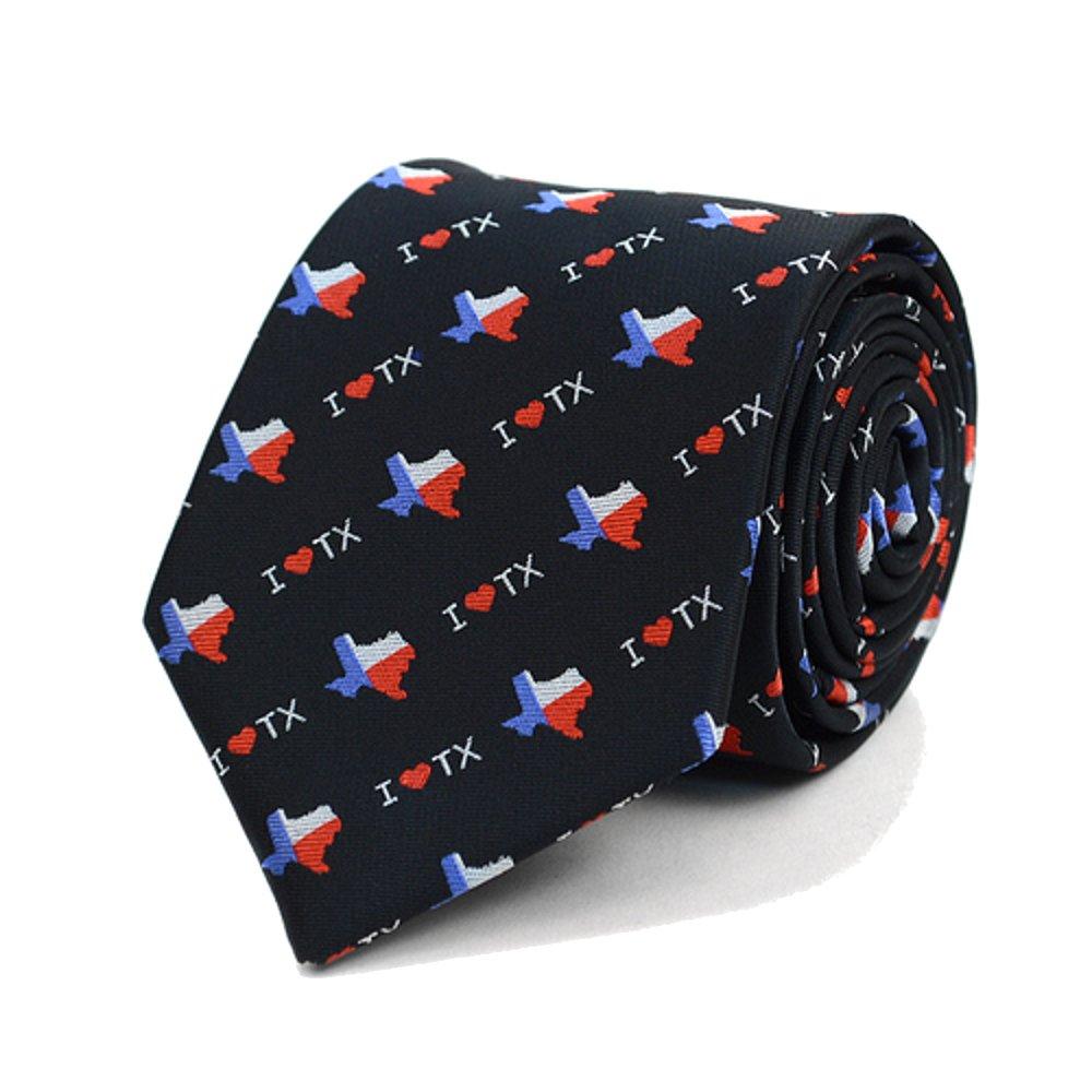 Men's I Love Texas State Flag Necktie Tie Neckwear (Black)