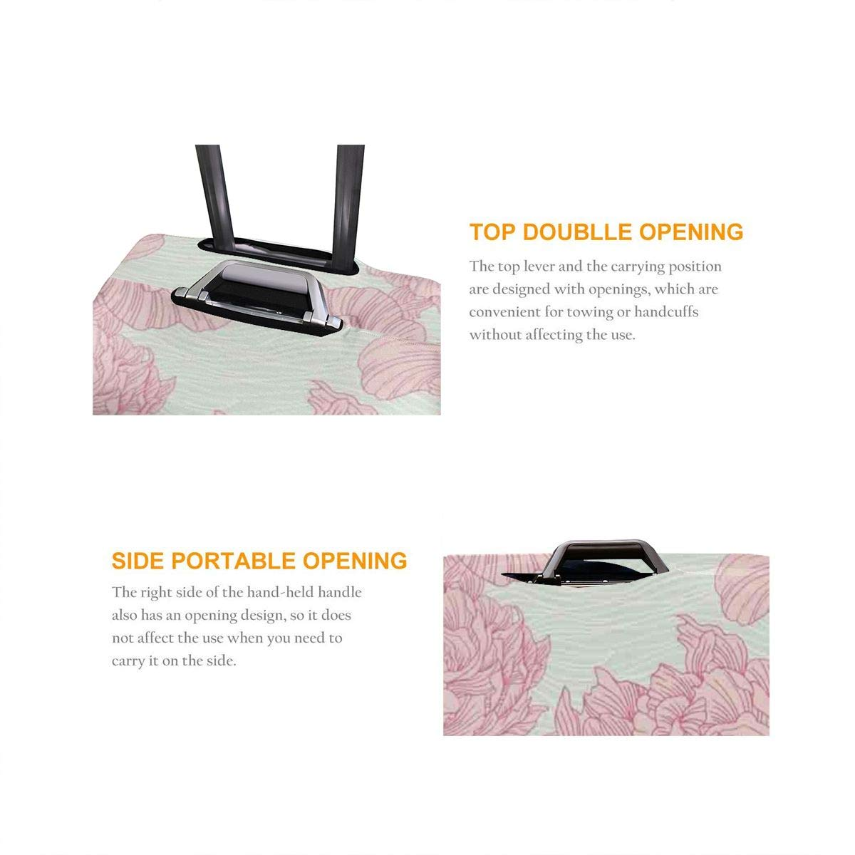 Personalized Travel Luggage Protector Washable Suitcase Cover Drawn Peony Flower