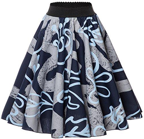 Printed Short Skirt - Nadasha Women's Vintage Short Skirt Printed Pleated Flared Midi Skirts (Camouflage, Large)