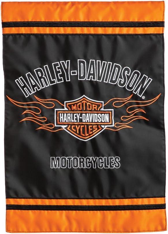 Harley-Davidson Flaming B&S Applique Garden Polyester Flag