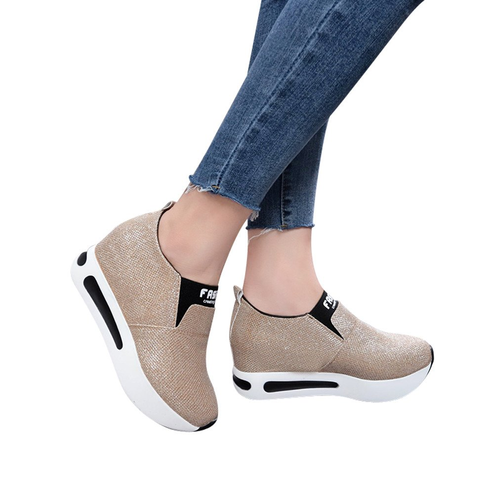 Shoes For Womens -Clearance Sale ,Farjing Women Flat Thick Bottom Shoes Slip On Ankle Boots Casual Platform Sport Shoes (US:7.5,Gold)