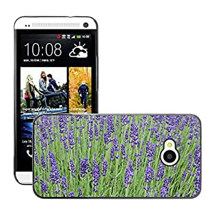 Etui Housse Coque de Protection Cover Rigide pour // M00150995 Flor de la lavanda púrpura violeta // HTC One M7