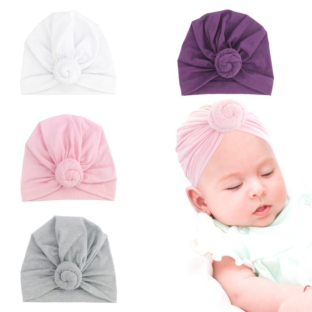 QtGirl Infant Knoten Stirnband Infant Turban Baby Mütze Krankenhaus Hut Headwrap Stirnband für Babys Neugeborene HATC220M401@#GLY