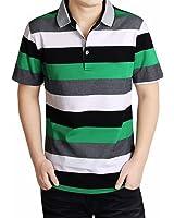 (ハイハート)Hiheart ポロシャツ メンズ 半袖 ラガーシャツ ボーダー柄 シャツ ゴルフウェア 通気性 吸汗速乾 大きいサイズ