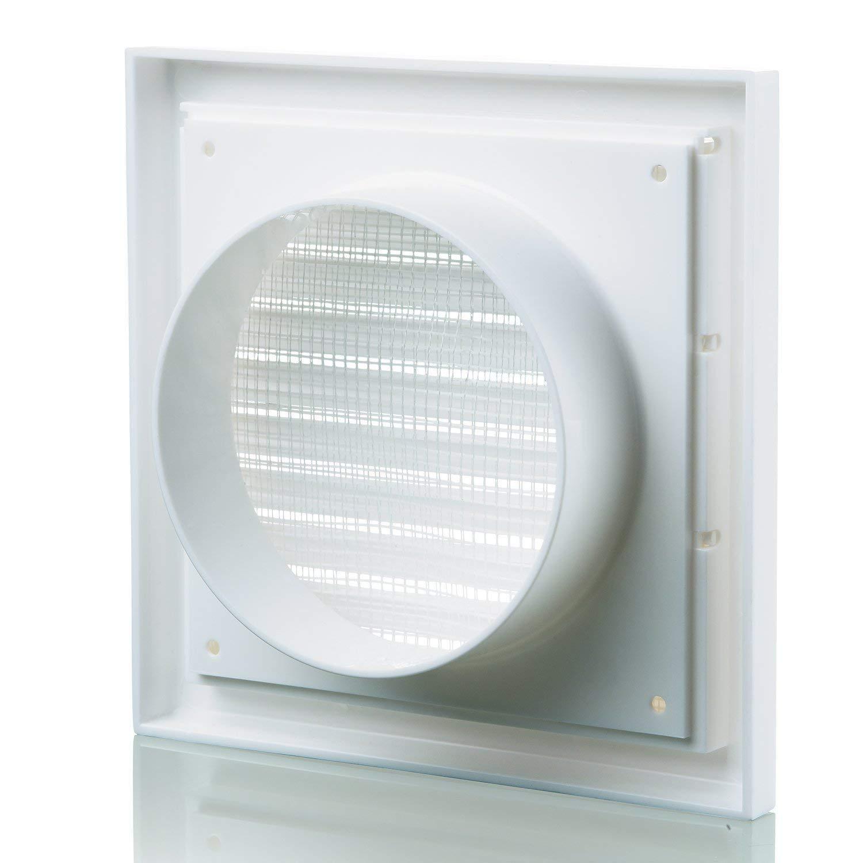 NVA F4904W Grille d/'a/ération ext/érieure avec persienne et moustiquaire pour conduit de 100/mm Blanc