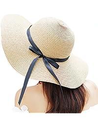 Women s Big Brim Sun Hat Floppy Foldable Bowknot Straw Hat Summer Beach Hat f8c9d260874a