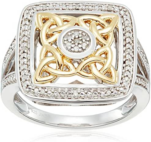 Yellow Plating Over Sterling Silver with White Accent Diamond Celtic Knot Fashion Ring