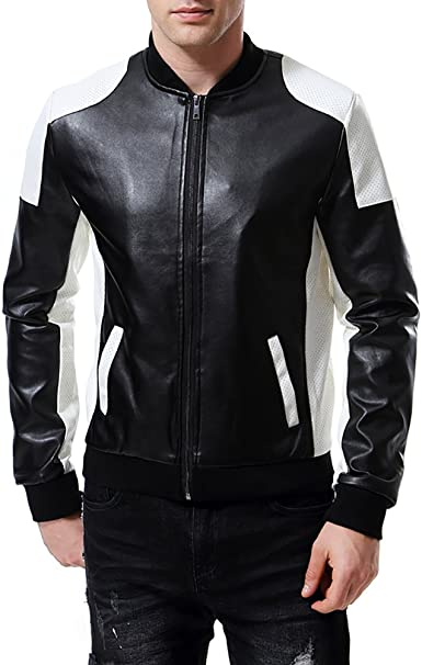 AOWOFS Men's PU Faux Leather Jacket White Black Moto Bomber Fashion Slim  Fit Coat at Amazon Men's Clothing store