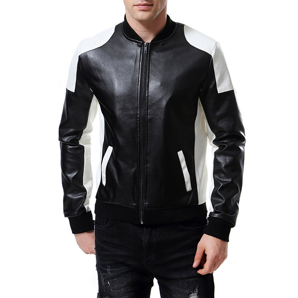 AOWOFS Men's PU Faux Leather Jacket White Black Moto Bomber Fashion Slim Fit Coat by AOWOFS