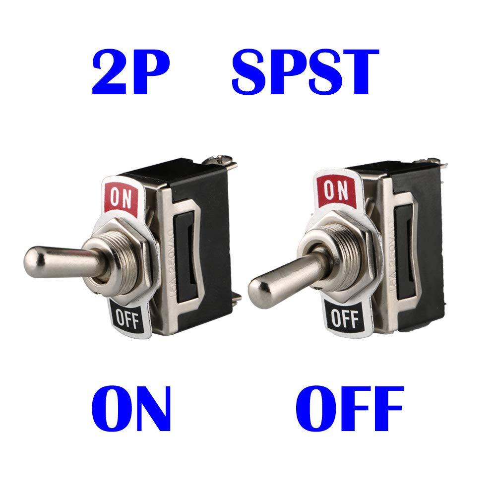 ARTGEAR Interrupteur /à Bascule AC125V 20A // AC250V 15A pour Voiture Tableau de Bord Lumi/ère ON//OFF 2 Positions 2 Broches SPST M/étal Interrupteur /à Levier Pack de 6, Noir