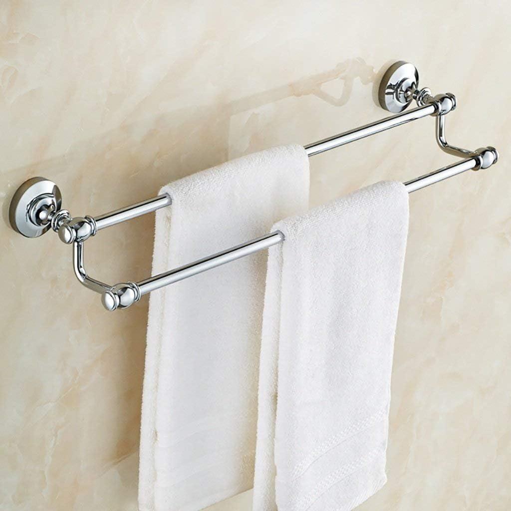 Bathroom Towel Rails 15.7-31.5 Polished Chrome Towel Bar Double Rod Size : 40cm Solid Brass Towel Rail