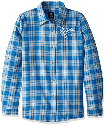 Detroit Lions 2016 Wordmark Basic Flannel Shirt - Womens Large by Forever Collectibles