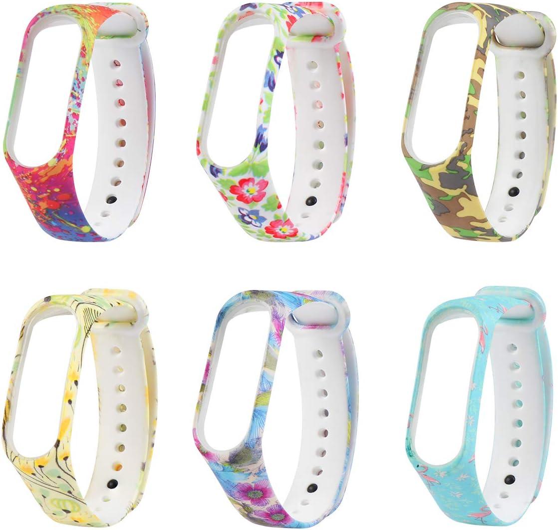 UKCOCO Correas Compatible para Xiaomi Mi Band 3, 6 Piezas Pulsera Reloj Coloridas Floral Impreso Suave Banda de Silicona Pulsera Mujer Banda de Reemplazo Accesorios de Pulsera