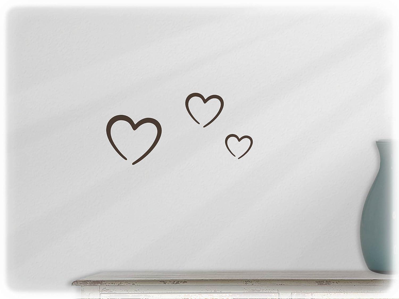 wandfabrik - 3 Herzen (Hz1) in schwarz - Wandtattoo geeignet als Dekoration Klebefolie Wandbild Wanddeko Tiere fü r Wohnzimmer Kinderzimmer Babyzimmer Badezimmer Fliesen Tapete Kü che Flur Wohnung und Schlafzimmer fü r Junge Mä dchen Ba