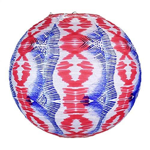 Quasimoon PaperLanternStore.com 14 Inch Bohemian Painted Spirit Red, White, Blue Patterned Premium Paper Lantern]()
