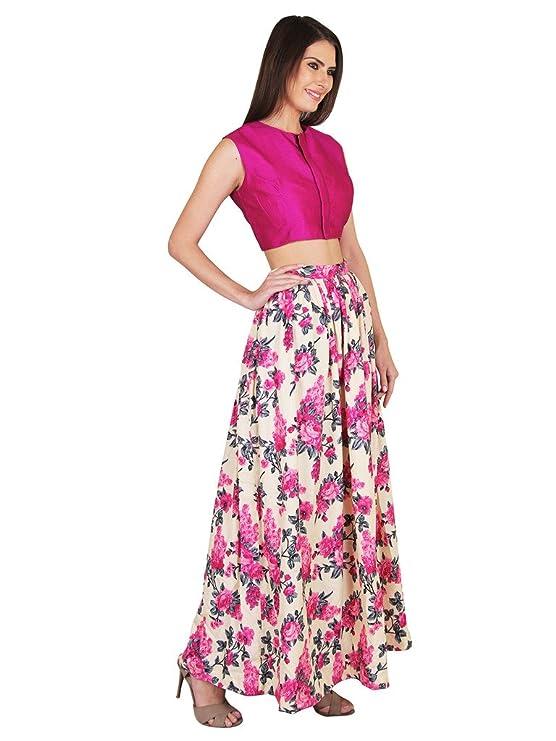 de97c36663d1e5 AAROHI GARMENT Women s Silk Crop Top with Skirt Set (AG016