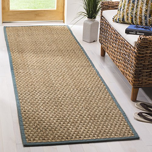 X 2'6 10' Runner Blue (Safavieh Natural Fiber Collection NF114M Basketweave Natural and Light Blue Summer Seagrass Runner (2'6