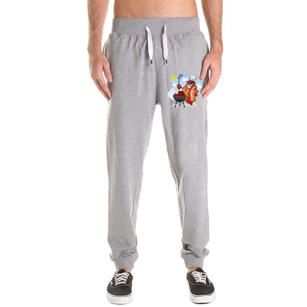 Cooking Hot Dog Men's Jogger Sweatpants Drawstring Elastic Waist Outdoor Running Trousers Pants With Pockets