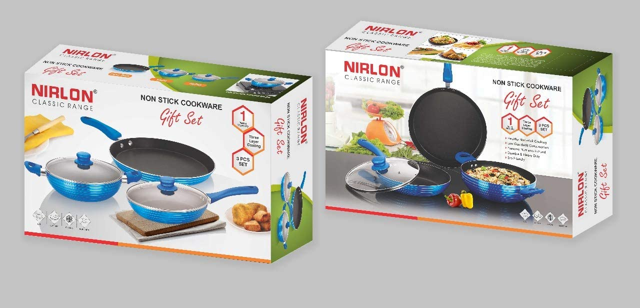 Nirlon Forged Cookware Induction Bottom Non Stick Cookware Set, Blue