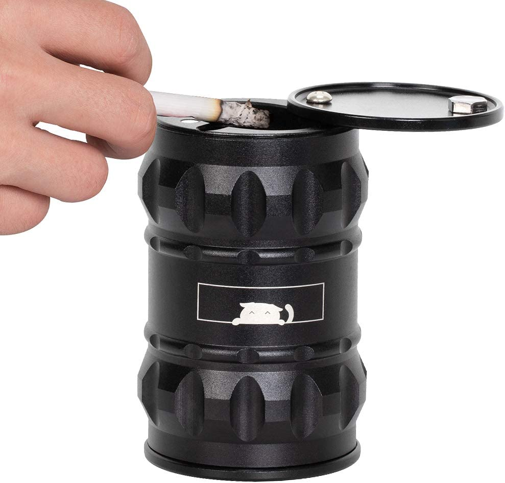 LIANTRAL Car Ashtray Portable Ashtray with Lid Aluminum Alloy Oil Drum Shape Detachable High Temperature Resistance for Car, Travel, Office, Home,Outdoor