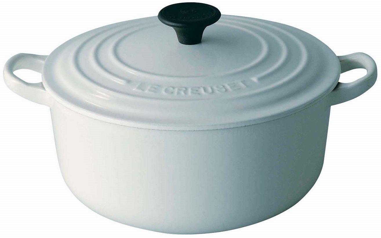 ルクルーゼ ココット ロンド ホーロー 鍋 IH 対応 22cm ホワイト