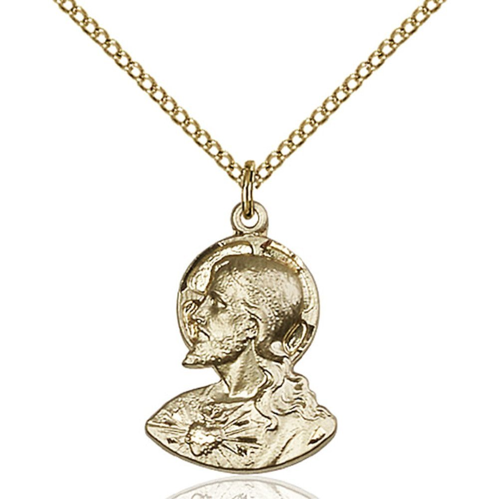 Gold Filled Women's HEAD OF CHRIST Pendant - Includes 18 Inch Light Curb Chain - Deluxe Gift Box Included by Bonyak Jewelry Saint Medal Collection