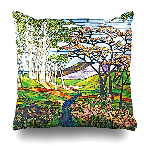 Uwwrticm Throw Pillows Covers for Couch/Bed 18 x 18 inch,Waterfall Iris Birch Tiffany Stained Glass Window Home Sofa Cushion Cover Pillowcase Gift Decorative Hidden Zipper Summer Beach Sunlight ()