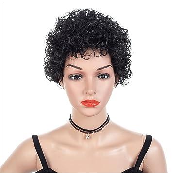JUKUB Pelo Corto Negro Rizado Ondulado Pelucas De Cabeza Completa Cosplay Disfraces Partido Postizo,A