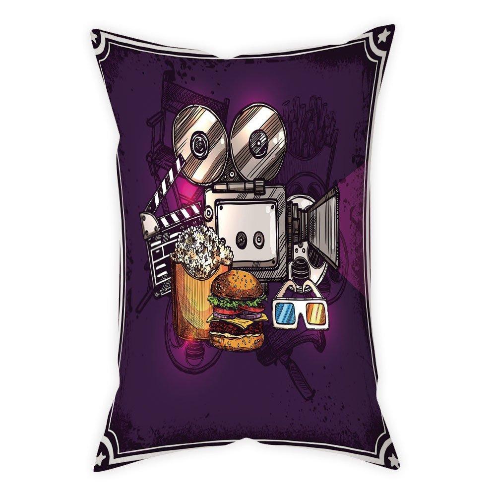 iPrint Polyester Throw Pillow Cushion Cover,Modern Decor,Cartoon like Cinema Movie Image Burgers Popcorns Glasses Art Print,Plum,Decorative Square Accent Pillow Case