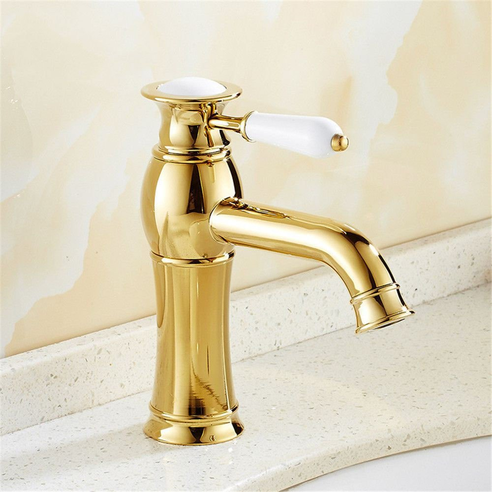 ETERNAL QUALITY Bathroom Sink Basin Tap Brass Mixer Tap Washroom Mixer Faucet The bathroom Washbasin Faucet golden taps full copper hot and cold-water faucet Single-tap G