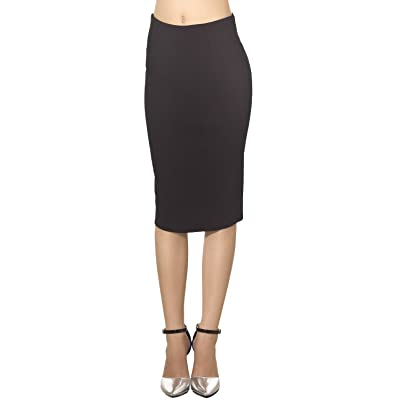 iB-iP Women's Elastic Fabric Solid Color Slim Fit Bodycon Mid Waist Pencil Skirt