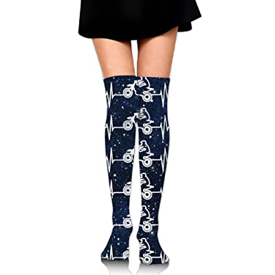 WRE8577 Women's Knee High Compression Thigh High Socks Dirtbike Heartbeat For Working Sport Long Stockings