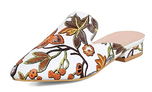6928264cbc1c SHOWHOW Women s Flowers Sandals - Pointed Toe Low Heels - Slide On Brown 4  B(