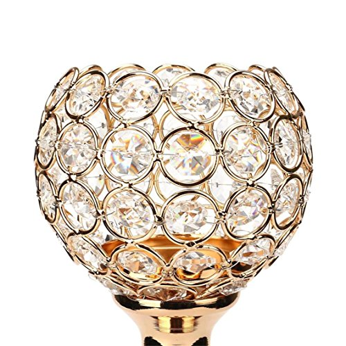 dern Crystal Lantern Candle Cup holders For Valentines Day, Lovers Romantic Candlelight Dinner Dining Room (L, Golden) (Half Pillar Candle)