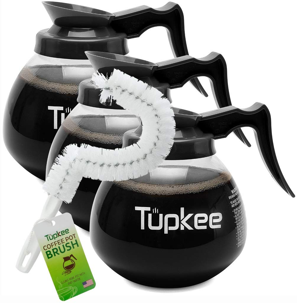 Commercial Coffee Carafe Pot Replacement - Restaurant Glass Decanter - 64 oz 12 Cup, Set of 3 Black Handle, Compatible with Wilbur Curtis, Bloomfield, Bunn | INCLUDES | Coffee Pot Cleaning Brush by Tupkee