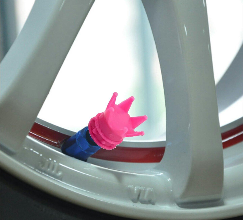 dor/ée blanche couronnes de couleur noire argent/ée Lot de 4 Embouts de bouchons de valve en alliage pour pneus de voiture rose