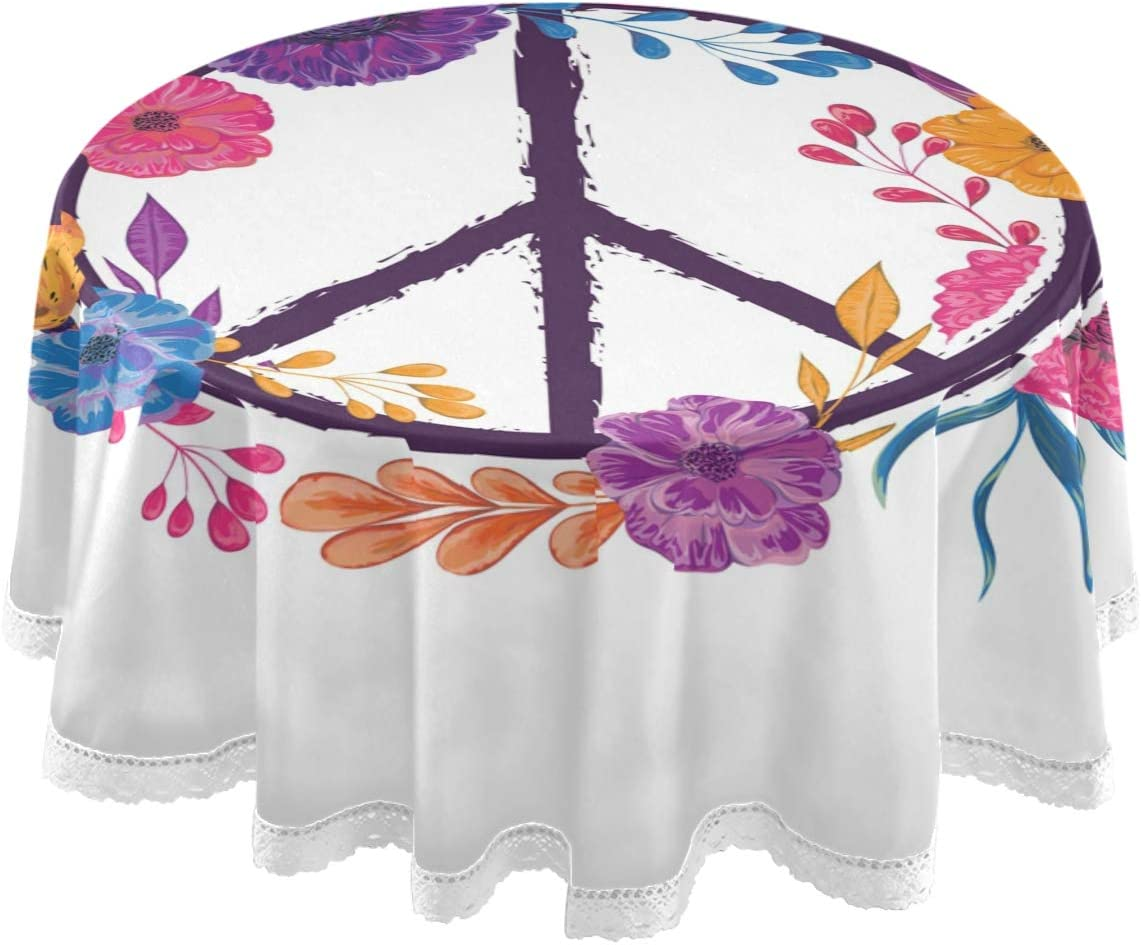 Amazon Com Dallonan Table Decoration For Party Peace Sign Round Table Cloth Peace Symbol Flowers Leaves Polyester White Lace Tablecloth Round Table 60 Inch For Dinner Table Decortion Home Kitchen